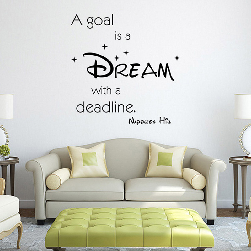 Aliexpress.com : Buy A Goal Is A Dream Famous U0026 Inspirational Quotes Vinyl  Wall Stickers Decal Living Room Bedroom Removable Sofa Home Wall Decor From  ... Part 49
