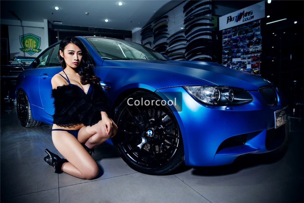 цена на Blue Matte chrome vinyl car wrap Vinyl color change adhesive matte film With Air Bubble Free Metallic