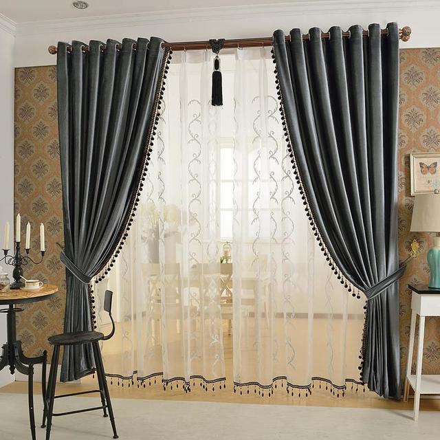 Wonderful Pure Velvet Purple / Gold/ Brown/ Gray European Living Room Bedroom Curtains  Custom