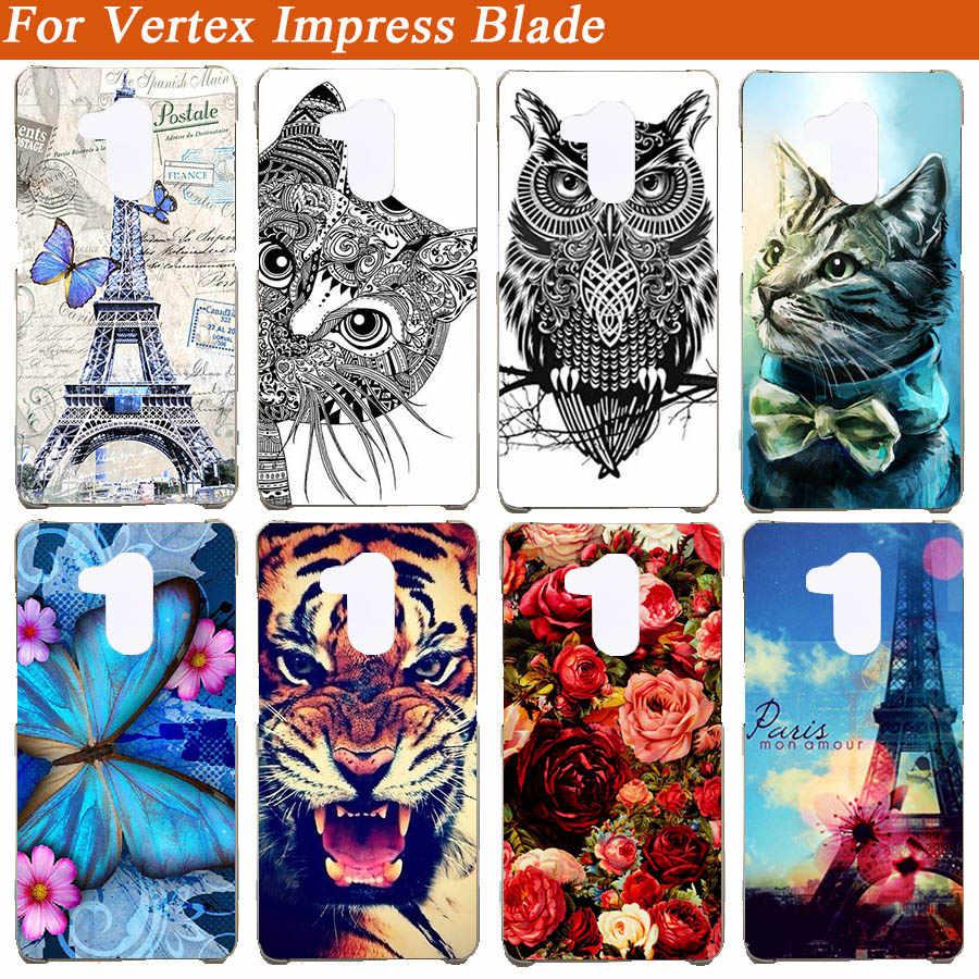 Zachte Gevallen Voor Vertex Impress Blade Case Silicon Tiger Uil Eiffeltoren Painted Achterkant Voor Vertex Impress Blade Fundas capa