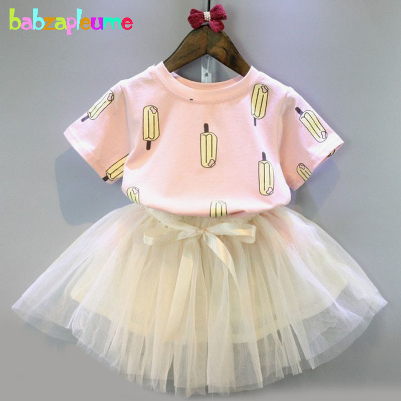 2016 New Summer Girls Clothes Short Sleeves T-shirt+TuTu Skirts 2pcs Baby Suits boutique Kids Clothing Children Costume BC1208
