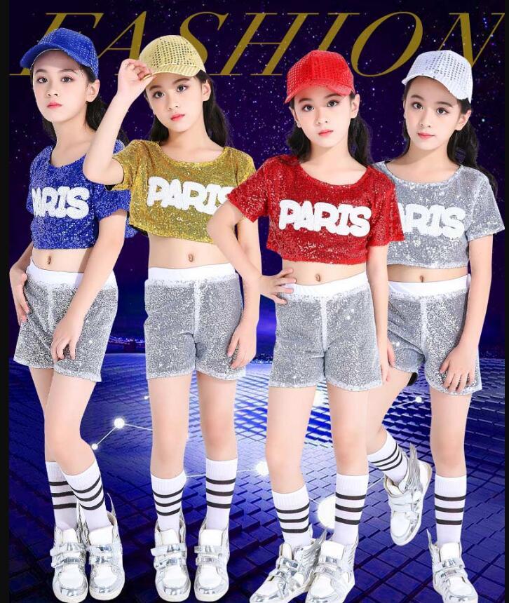 Girl Jazz Dance For Girls Jazz Dance Costumes Kid Hip Hop Dancing Girl Sequins Stage Performance Dress Hip Hop Costumes