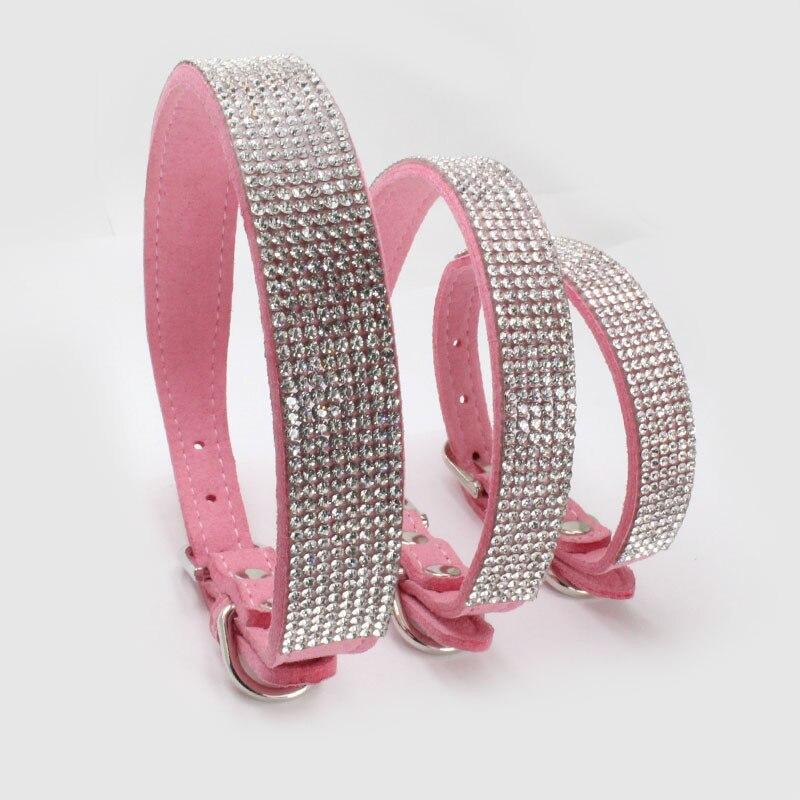New  Microfiber PU Dog Collar Diamond Decoration Semicircle Buckle for Small Medium and Big Accessories
