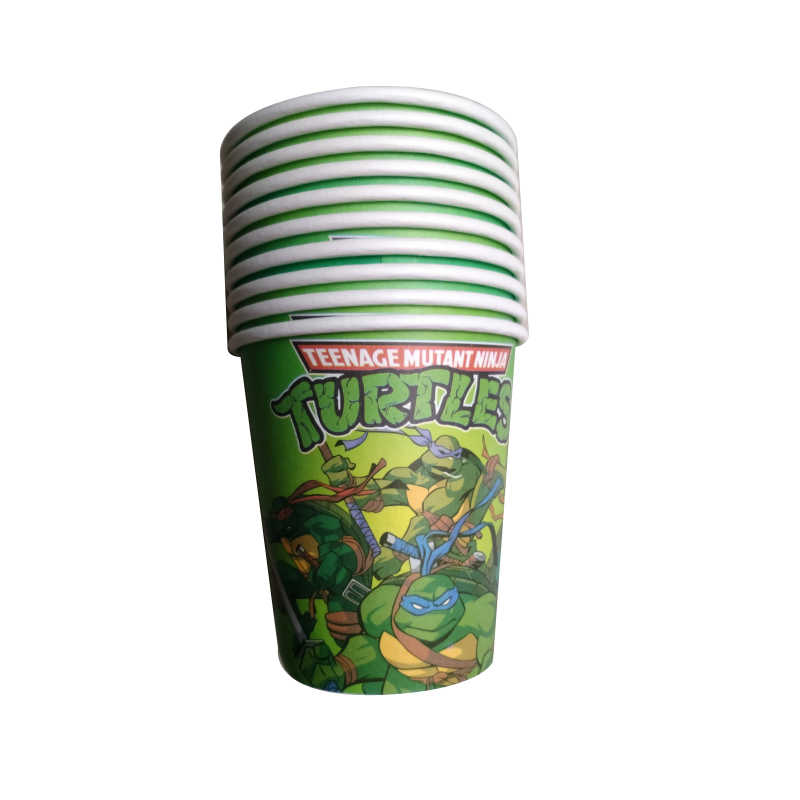 Kids Favors Happy Baby Shower Party Green Ninja Turtles Food Grade Paper Cups Birthday Decoration Tableware Events Supplies 10pc