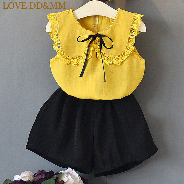 LOVE DD&MM Girls Sets 2019 Summer New Kid's Clothing Girls Solid Color Doll Lace Led Short-Sleeved Shirts + Shorts Suits
