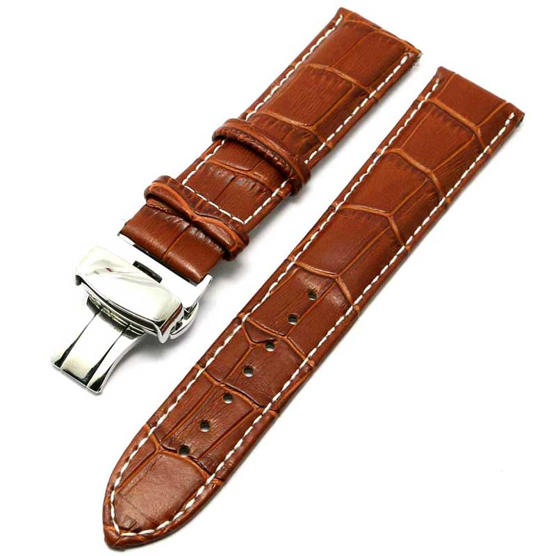 22mm Stainless Steel Butterfly Buckle Embossed Light Brown Leather Band Strap Wrist Watch Clock Watchband Replacement PD012222 croco genuine leather watchband 22mm tool for speedmaster globemaster replacement watch band butterfly buckle wrist strap black