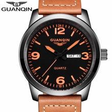 Relogio Masculino Luxury Brand GUANQIN Watch Men Sport Casual Leather Strap Wristwatch Fashion Military Waterproof Quartz Watch