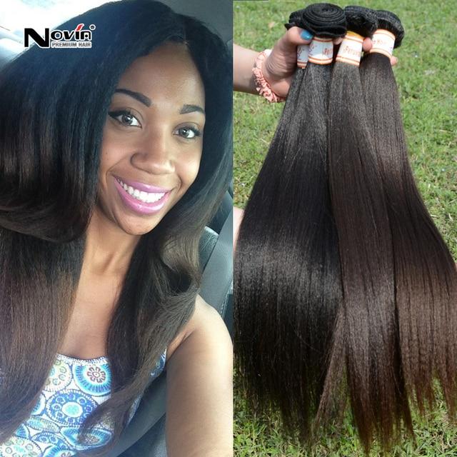 Grade 7a Italian Yaki Straight Wave Hair Weaving Light Yaki Virgin