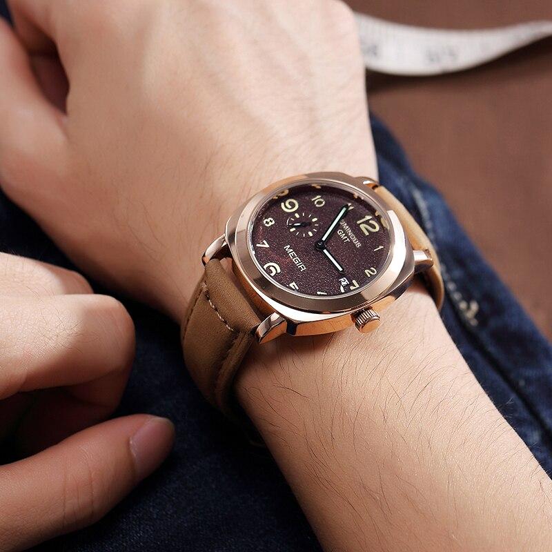 MEGIR Créatrice des Hommes Militaires Sport Montres De Mode Bracelet En Cuir Étanche Quartz Montres Hommes Horloge Relogio Masculino