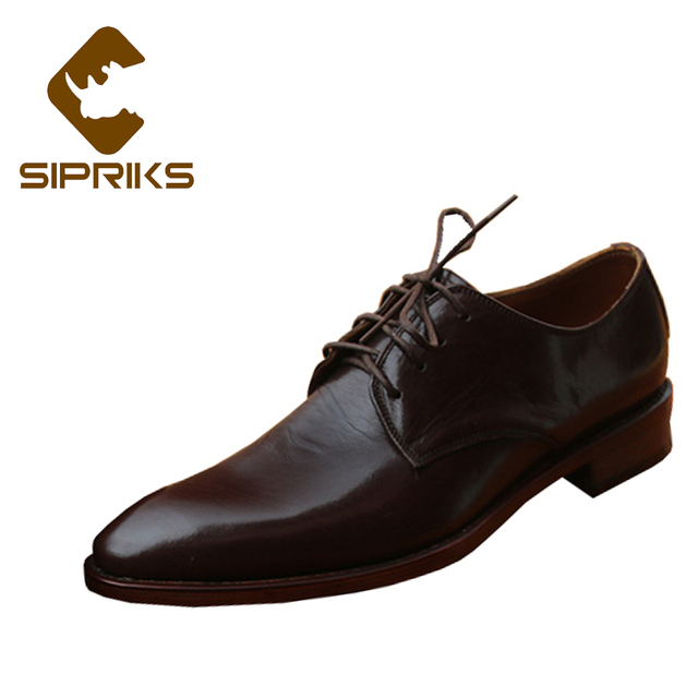 Sipriks Luxury Calf Leather Derby Shoes For Men Pointed Toe Dress Boss Business Office