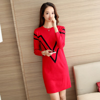 2018 Autumn And Winter Women's New Korean Version Of The Loose In The Long Paragraph Knitted Sweater Skirt Sweater Ladies Shirt