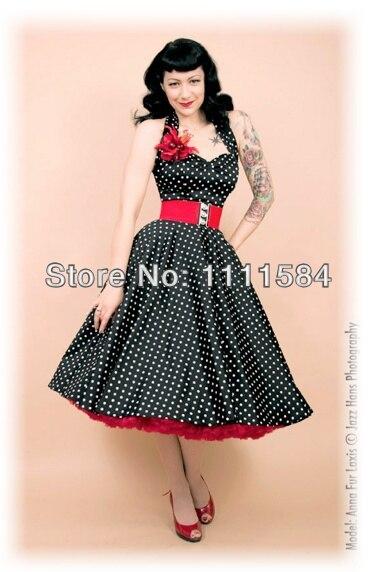 free shipping R1034 Rockabilly Polka Dot Swing Dress Black ...