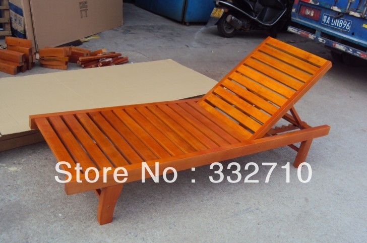Solid Wood Chair Folding Chaise Lounge Outdoor Chair Beach Chairs