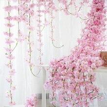 230cm 실크 사쿠라 벚꽃 포도 나무 Lvy 웨딩 아치 장식 레이아웃 홈 파티 등나무 벽 매달려 화환 화환 Slingers