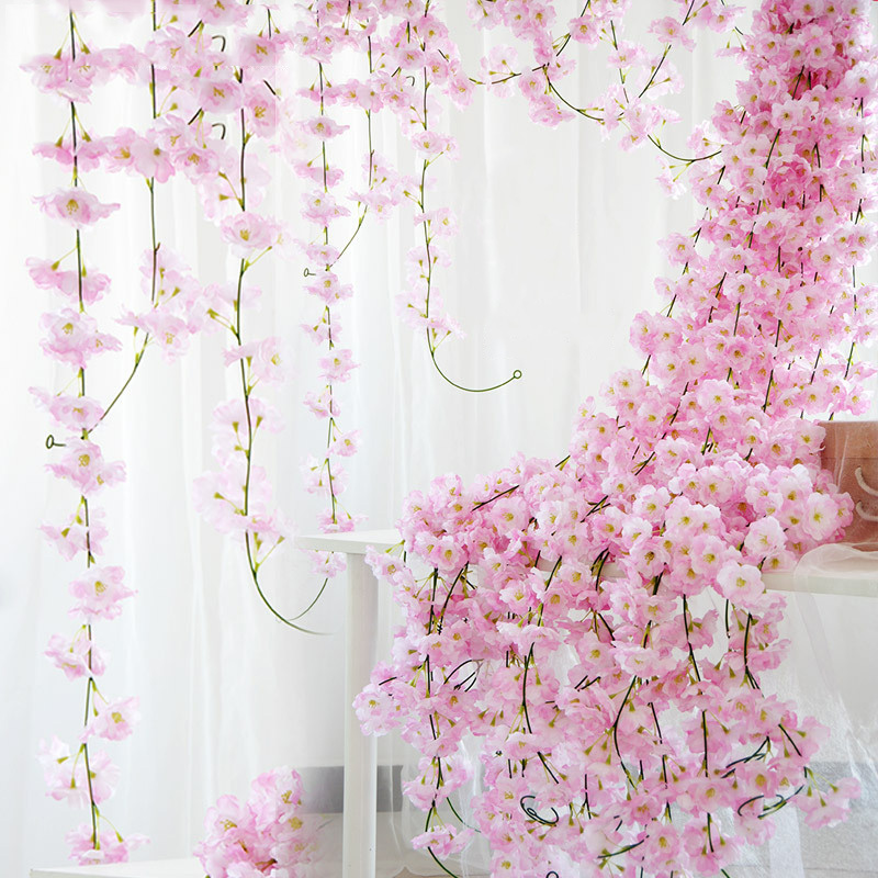 230cm Silk Sakura Cherry Blossom Vine Lvy Wedding Arch Decoration Layout Home Party Rattan Wall Hanging Garland Wreath Slingers-in Artificial & Dried Flowers from Home & Garden