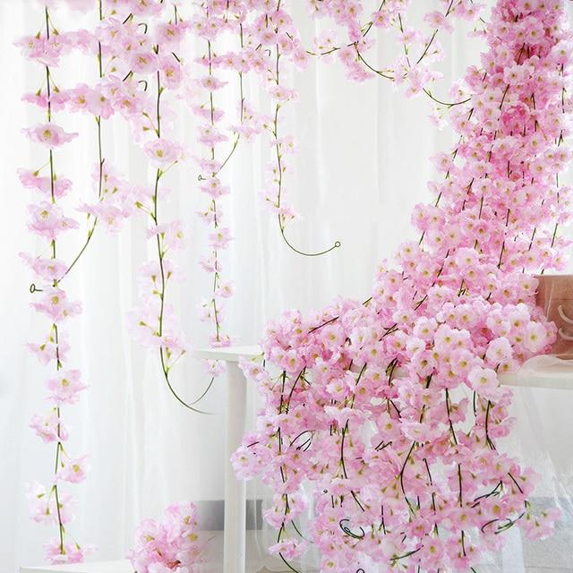 230cm Silk Sakura Cherry Blossom Vine Lvy Wedding Arch Decoration Layout Home Party Rattan Wall Hanging Garland Wreath Slingers