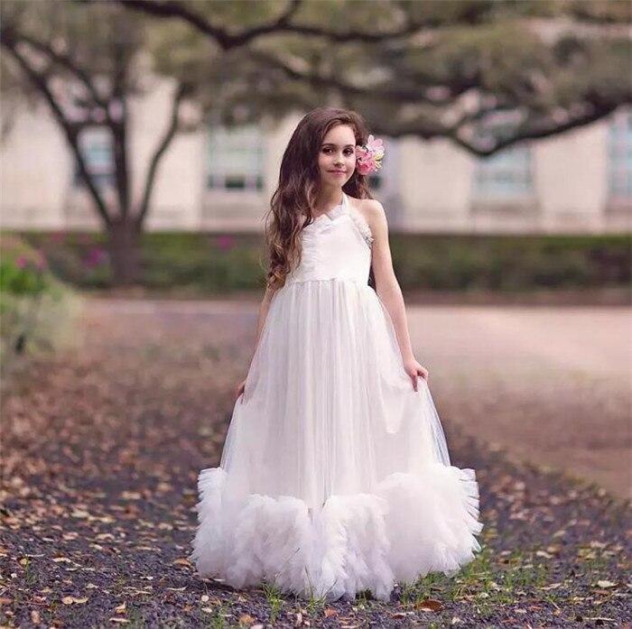 Vintage Princess Flower Girls Dresses For Weddings A Line Backless First Communion Dress ruffles 2018 Customized Any Size princess flower girls dresses for
