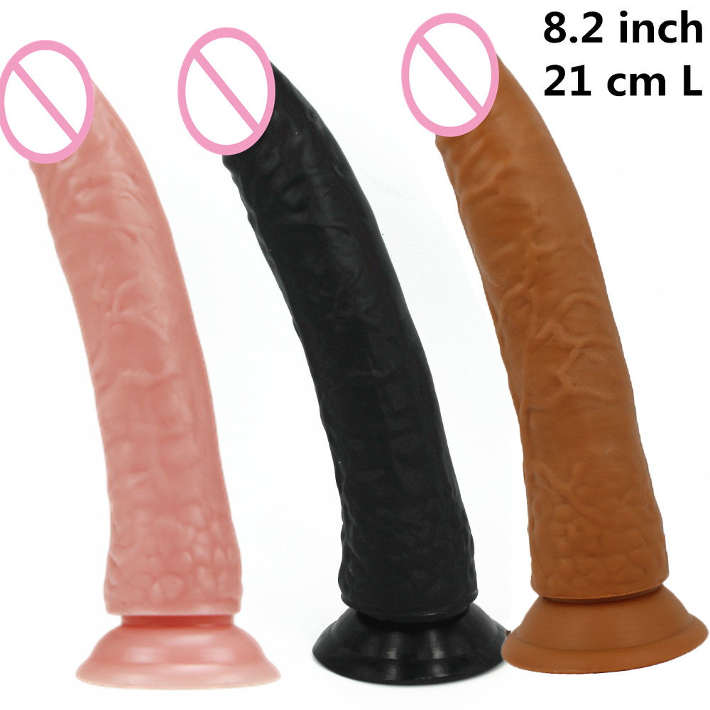 8.2 inch 21 cm long big black /flesh/ brown/pink /purple dildo Dongs,sex dick ,realistic penis,Sex Toys for woman sex products