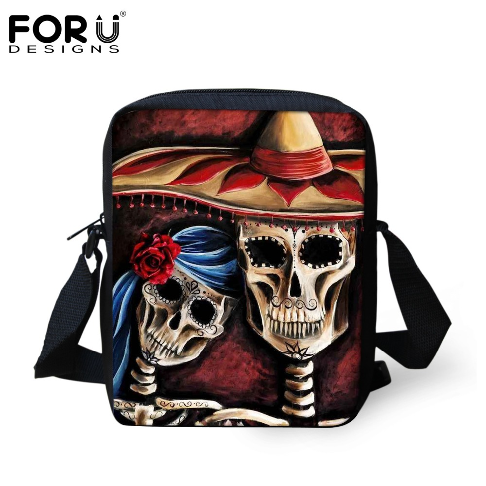 FORUDESIGNS Women Messenger Bags Vintage Punk Skull Prints Small Shoulder Bags for Ladies Girl Handbag Mujer Bolsa Crossbody Bag