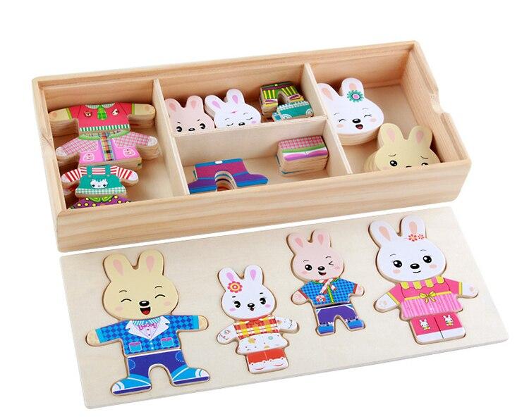 Деревянная игрушка кролик меняющая одежду паззлы Монтессори обучающее платье меняющая паззл игрушки для детей подарок oyuncak