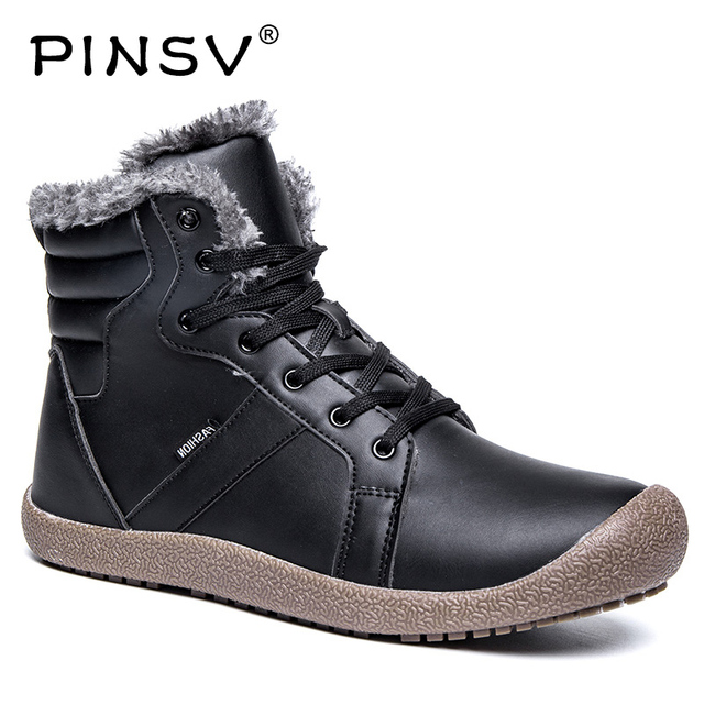 PINSV Kar Botları Erkekler Kış Ayakkabı Siyah Yumuşak Deri Çizmeler erkek ayakkabı Sıcak Rahat Erkekler yarım çizmeler Büyük Boy 36-48