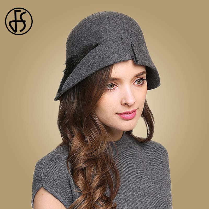 FS Elegant Feather Hat Wool Felt Fedoras Vintage Cloche Hats For Women Autumn Winter Bowler Cap