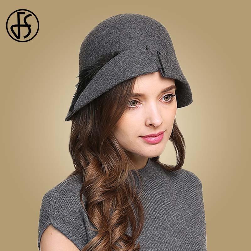 FS エレガントな羽の帽子ウールは Fedoras ヴィンテージクローシュ帽子女性の秋の冬ボウラーキャップレディースツバ広教会キャップ  グループ上の アパレル アクセサリー からの フェドーラ の中 1