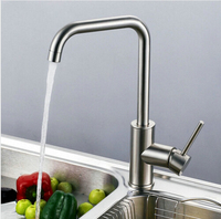 Total 304 Stainless Steel Kitchen Faucet No Lead Safe Single Lever Nickel Finished Hot And Cold