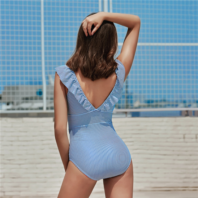 Striped One Piece Ruffled Swimsuit 4