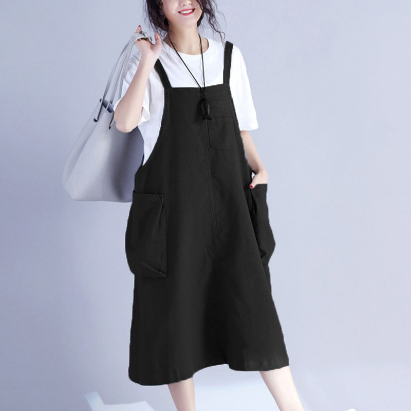 f1af726c33 Detail Feedback Questions about ZANZEA Women Vintage Vestido Pockets Bib  Overalls Sleeveless Dungarees Strappy Cotton Dress Female Casual Loose Dress  on ...