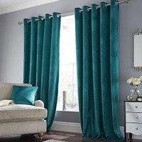 Rod Pocket Living Room Velvet Curtain Eyelet Ring pure color window curtain grommet top Velvet Curtains blackout Curtains drapes|Curtains|   -