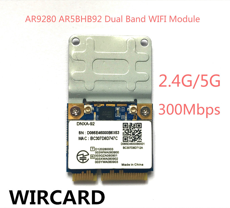 AR9280 AR5BHB92 Dual-Band 2.4GHz And 5GHz 802.11a/b/g/n 300Mbp Wireless Wifi Mini Pci-e Card