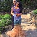 Correas espaguetis v-cuello de la gasa y tul vestidos baile Crystal Stones rebordear vestido de noche de la sirena vestido de fiesta vestidos de