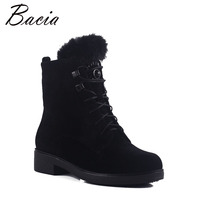 Bacia Wool Fur Warm Boots Black Sheep Suede Boots For Women Ankle High With Platform Square