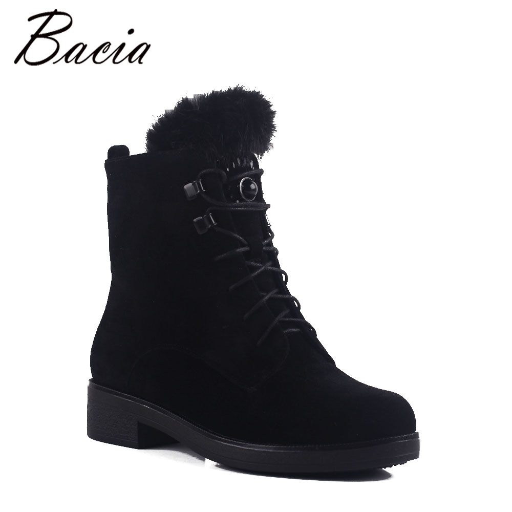 Bacia Wool Fur Warm Boots Black Sheep Suede Boots For Women Ankle High With Platform Square Heel Shoes Plush Size 35-41 MB017 цена