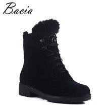 Bacia Wool Fur Warm Boots Black Sheep Suede Boots For Women Ankle High With Platform Square Heel Shoes Plush Size 35-41 MB017