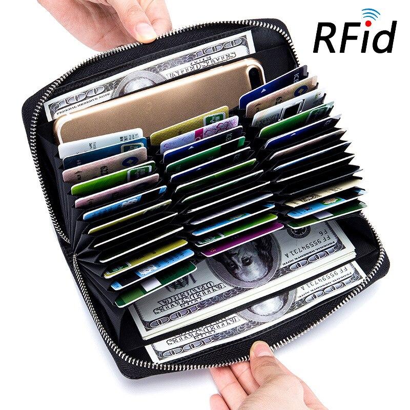 Minimalista RFID Bloqueio Anti Roubo Carteira Mulheres Couro Rachado Do Couro Real Big Longo Carteiras Cartão Homens Bolsa De Viagem Passaporte