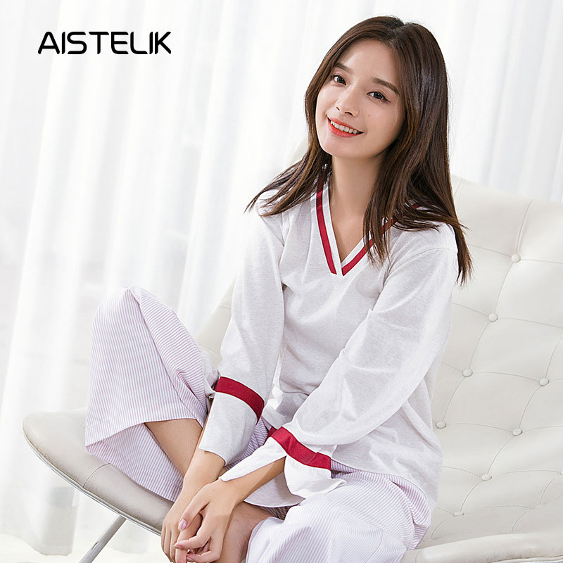 Autumn and winter ladies sexy cotton satin pajamas set long sleeved pajamas V neck pajamas home service night women's pajamas