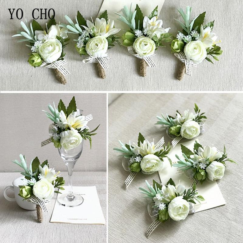 YO CHO Wrist Corsage White Rose Silk Flower Cuff Bracelets Bridesmaid Buttonhole Boutonniere Flower Marriage Wedding Accessories
