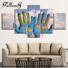 FULLCANG 5PCS Full Square Diamond Embroidery Blue Sky White Cloud Hand World Map Diamond Painting Cross Stitch Mosaic Kits G519 fullcang 5pcs color world map diamond painting mosaic cross stitch diy 5d diamond embroidery full square rhinestone g649