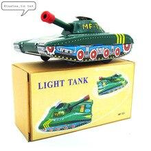Винтажная Коллекция оловянные игрушки классический заводной ветряной свет Танк модель оловянные игрушки для взрослых детей коллекционный подарок