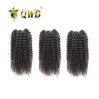 QUEEN WEAVE BEAUTY QWB Free Shipping Kinky Curly 3Bundle/Lots 12''~24''P Brazilian Virgin Nature Color 100% Human Hair Extension