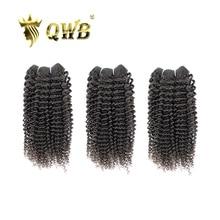 QWB Free Shipping Kinky Curly 3Bundle/Lots 12~24Professional Ratio Brazilian Virgin Nature Color 100% Human Hair Extension