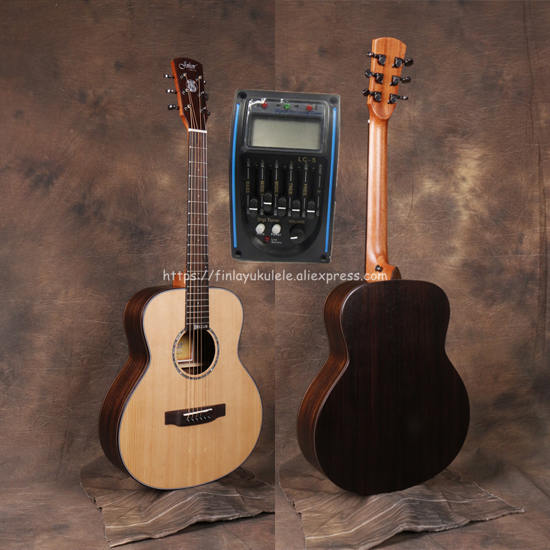 Professional 36 quot Electric Acoustic Guitars With 20mm cotton bag Solid Spruce Top Rosewood Body guitarra eletrica With LCD Pickup in Guitar from Sports amp Entertainment