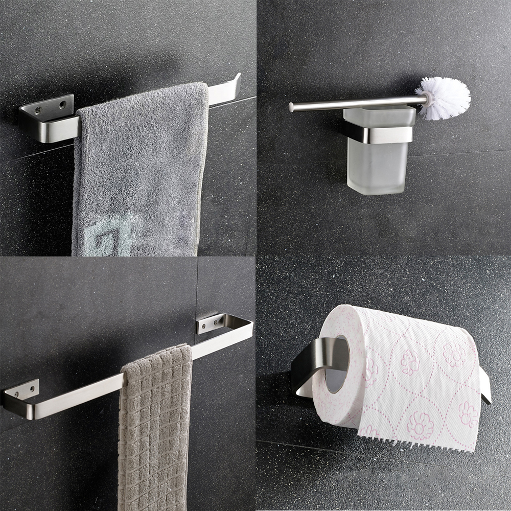 304 Stainless Steel Nickel Brushed Wall Mount Bath Hardware Sets,Towel Bar,Toilet Brush Holders,Paper Holder,Free Shipping leyden towel bar towel ring robe hook toilet paper holder wall mounted bath hardware sets stainless steel bathroom accessories