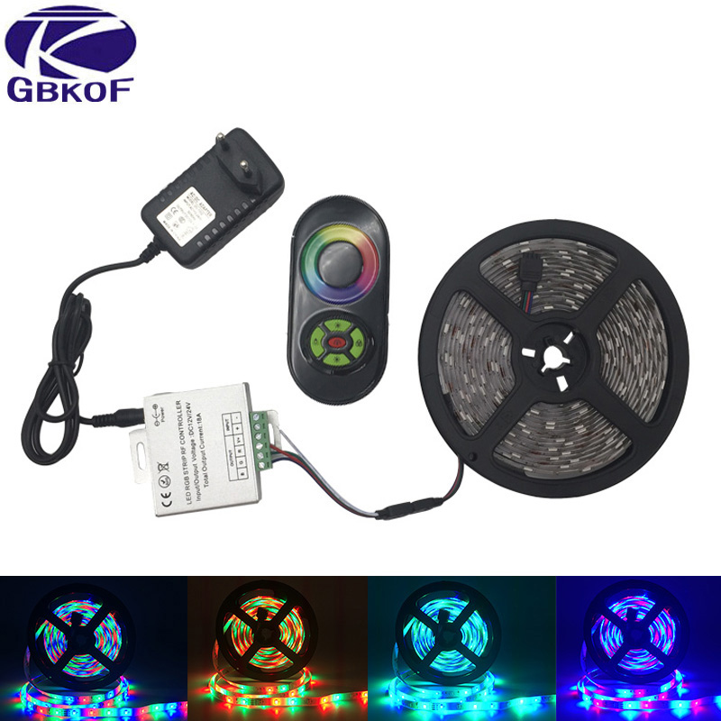 RGB Led Strip Light 5M 10M 15M 20M 2835 SMD Waterproof Led Light IP20 IP65 Flexible LED Strip Adapter Touch Remote Rgb Full Set