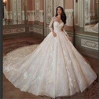 Barato vestido De novia De encaje sirena Vestidos De novia vestido De novia romántico por encargo Vestidos De Noiva Em Renda
