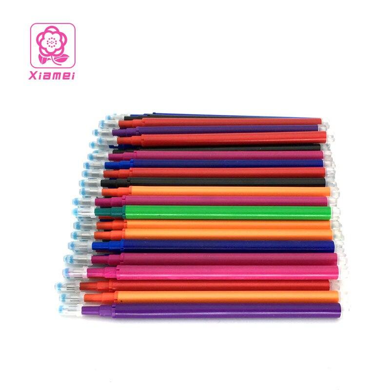 Xiamei 10pcs Plastic Erasable Gel Pen Refill 0.5mm Erasable Markers 8 Colors Chancery Writing Stationery Gel Ink Pen Refills