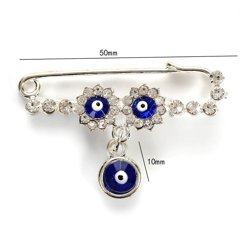 Wish Card Evil Turkish Blue Crystal Lucky Eyes Pins for Women Evil Eyes Crystal Flower Brooch Party Jewelry Gift EY5068 in Brooches from Jewelry Accessories
