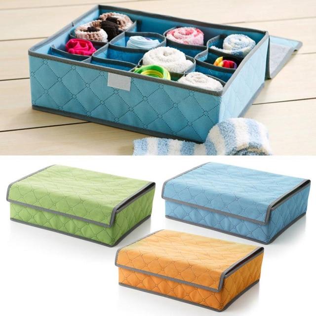 16Grid Nonwoven Fabric Folding Case Underwear Sock Tie Storage Organizer  Drawer Bra Divider Tidy Wardrobe Storage